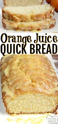 ORANGE JUICE BREAD – Butter with a Side of Bread Orange Juice Bread is a delicious quick bread recipe made with orange juice! This delicious bread is easy to make and has the most amazing orange flavor, especially with the simple orange glaze on top. Quick Bread Recipes, Bread Machine Recipes, Baking Recipes, Recipe For Sweet Breads, Simple Easy Recipes, Healthy Recipes, Juice Recipes, Top Recipes, Sweet Recipes