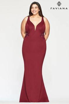 Faviana 9492 Long Formal Fitted Plus Size Prom Gown | The Dress Outlet Plus Size Long Dresses, Plus Size Gowns, Faviana Dresses, One Shoulder Prom Dress, Trumpet Dress, Prom Dresses Online, Floor Length Dresses, V Neck Dress, Dress Collection