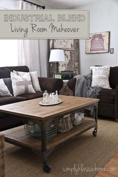 Simply Klassic Home: Industrial Blend Living Room Makeover Reveal - brown couches and grey walls- love this coffee table