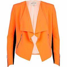 Bright orange waterfall jacket $100.00