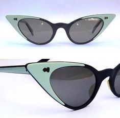 0a006a9865 Rare Real true Vintage Old Stock Cateye Spectacle Glasses Frame Navy    aqua mint