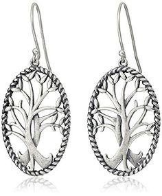 Sterling Silver Oxidized Celtic Tree of Life Oval Dangle Earrings Amazon Collection-$30.53 http://www.amazon.com