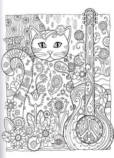 Kitten Adult Cat Guitar Coloring Pages Printable And Book To Print For Free Find More Online Kids Adults Of