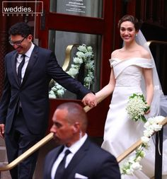 Blushing bride: Emmy Rossum looked simply stunning as she left Central Synagogue with her new husband Sam Esmail on Sunday wedding dresses carolina herrera Emmy Rossum stuns in Carolina Herrera gown as she marries Sam Esmail Famous Wedding Dresses, Celebrity Wedding Dresses, Red Wedding Dresses, Stunning Wedding Dresses, Celebrity Weddings, Bridal Dresses, Wedding Gowns, Glamorous Wedding, Luxury Wedding