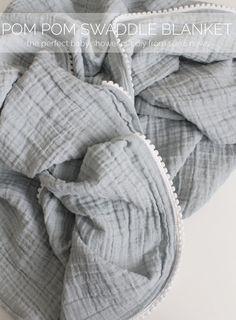 Pom Pom Swaddle Blanket tutorial: perfect baby shower gift!