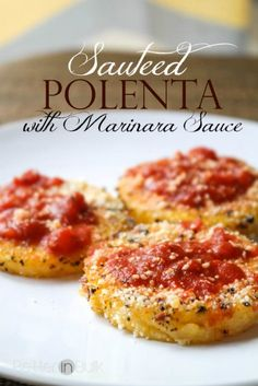 Sauteed polenta with marinara sauce – a Weight Watchers-friendly recipe! This is… Sauteed polenta with marinara sauce – a Weight Watchers-friendly recipe! This is one of my favorite go-to quick and easy lunch ideas. It's a bonus that it's so good for you!