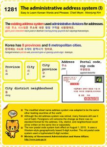 Easy to Learn Korean 1281 - Administrative address system (part one).