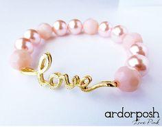 Pink Love Charm Arm Candy Bracelet  by Ardorposh, $8.00
