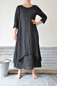 Lagenlook charcoal linen dress and skirt Mode Hippie, Diy Kleidung, Estilo Hippie, Look Fashion, Fashion Design, Trendy Fashion, Gothic Fashion, Mode Hijab, Online Fashion Stores