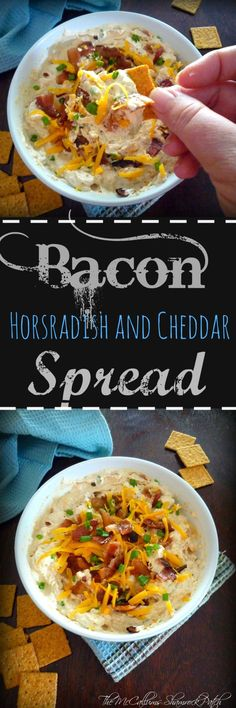 Delicious homemade Bacon Horseradish and Cheddar Spread is soon to become one of your favorite , easy to make spring appetizer, made with crispy hickory smoked bacon, cream cheese, sour cream,sharp white cheddar, mild cheddar, kicked up a notch with horseradish, and served with your favorite snack crackers.