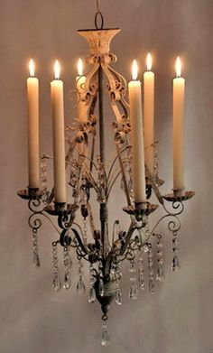 Metal and Crystal Hanging Chandelier 26in