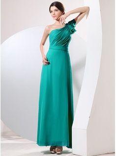 A-Line/Princess One-Shoulder Floor-Length Chiffon Evening Dress With Ruffle (017014056)