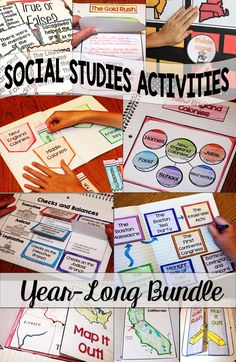 Social Studies activities for Elementary and Middle School is fun and engaging with Social Studies Interactive Notebooks for the Year Bundle! and even grade students love these hands-on foldables, projects, and lessons. Teaching So Social Studies Projects, 3rd Grade Social Studies, Social Studies Notebook, Social Studies Classroom, Social Studies Activities, Teaching Social Studies, Teaching History, History Education, History Class