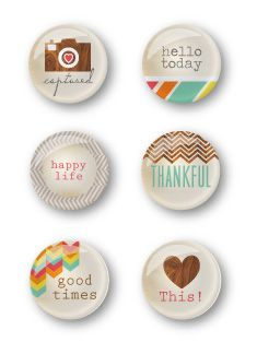 Happy Life Flair Buttons - set of 6
