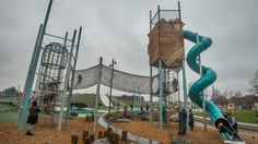 A security guard has been employed to monitor children playing on the new spiral slide at the Margaret Mahy Family ...