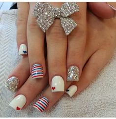 Hearts + Stripes | Fourth of July Nails