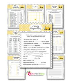 Family Bumble Bee Coed Baby Shower Game Set