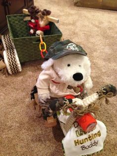 Deer hunter diaper motorcycle and wagon
