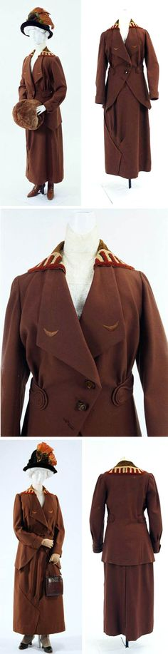 Suit (jacket, skirt), 1910. Wool. The museum's website mentions Jaquet-Droz, a Swiss watchmaker, in reference to this suit, but the translation is incomprehensible. Bunka Gakuen Costume Museum, Tokyo