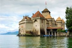 Castle of Chillon on Lake Geneva, near Montreux, Switzerland