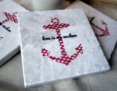 Heart Anchor Tile Coasters by My Little Chickadee Creations