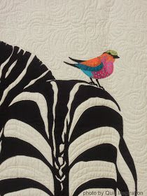 What a beautiful combo of black and white and color. Love the design too! by Kristen Bryson. 2013 Houston IQF, photo by Quilt Inspiration xxxx Quilting Projects, Quilting Designs, African Quilts, Black And White Quilts, Bird Quilt, Animal Quilts, Textiles, Applique Quilts, Bird Art