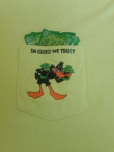 Daffy Duck Warner Bros. Studio Store T-Shirt In Greed We Trust Embroidered Large | Clothing, Shoes & Accessories, Men's Clothing, T-Shirts | eBay!