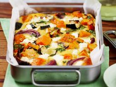 Roasted pumpkin spinach and feta slice is part of pizza - Method Toss pumpkin, zucchini and onion in prepared baking dish with oil, season to taste and spread out Bake for 1520 minutes, or until vegetables are golden and tender Vegetable Dishes, Vegetable Recipes, Vegetarian Recipes, Healthy Recipes, Vegetable Bake, Vegetable Slice, Roast Vegetable Frittata, Vegetarian Cooking, Roast Vegetable Salad