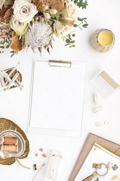 warm neutral desktop image with neutral flowers, gold accents, and blank paper продвижение инстаграм Photography Office, Flat Lay Photography, Gold Desk Accessories, Desktop Images, Paper Background, Stock Photos, Inspiration, Gold Accents, Salon Marketing