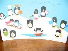 Christmas cards I made in 2013 (in some cases I cannot claim these ideas as original, though I'm not sure the sources). This one was for my boss, and each penguin represents one of us as far as inside jokes at the workplace, or different roles/interests we have