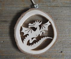 Flying Dragon Ornament Wood Slice Christmas Tree Ornament Rustic Wooden Holiday Decoration Wall Art Scroll Saw Window Hanging Wood Christmas Tree, Christmas Tree Ornaments, Peace Dove, Wooden Ornaments, Window Hanging, Wood Slices, Scroll Saw, Felt Toys, Wood Crafts