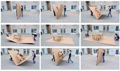 Ce projet de mobilier Pop Up par Liddy Scheffknecht en collaboration avec Armin B. Wagner date de plusieurs années déjà mais je trouve son idée et sa réalisation assez incroyables ! En effet, un bureau (chaise et table) et un coin salon (table et banc en angle) grandeur nature, ont été créés en carton pop up. Les dimensions sont: 94 x 275 x 200 cm. Un petit air de Mary Poppins tout ça !