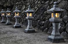 Traditional Japanese stone lanterns by Cebas on Creative Market Japanese Garden Lanterns, Japanese Stone Lanterns, Japanese Garden Landscape, Japanese Lamps, Japanese Garden Design, Japanese Gardens, Raku Pottery, Lantern Image, Japanese Tea House