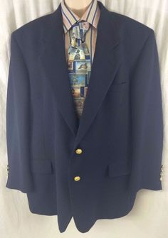 Tailored in the USA Mens Navy Blue Sport Coat Size 48R Gold Buttons Two Button #Unknown #TwoButton #menssportcoat