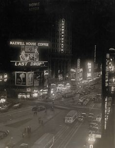 New York City, 1934.  Looking South on Broadway at approximately 46th Street. Loews Theater is now a Hard Rock.