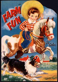 """Uncolored """"Farm Fun to Color"""" 4831 Merrill 1942 1809   eBay"""