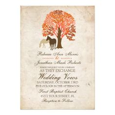 This classy country wedding invitation features two horses standing under a beatuful Fall tangerine tango and red maple tree against an invory cream vintage background. Elegant text is complete customizable so you can use this for other events such as bridal shower, wedding shower, vow renewal, 50th wedding anniversary, and engagement party invitations. Look in my shop for matching products to go with this stylish stationery set!