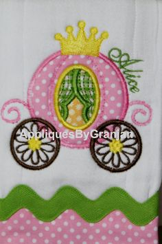 Personalized and appliqued Princess Carriage by AppliquesByGranjan, $18.00