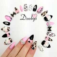 Doobys Stiletto - Hello Kitty 3D Bling Leopard  - 24 Pointy Claw Nails on Etsy, $31.91 CAD