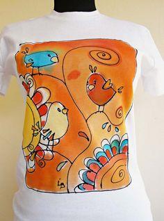 Hand painted t shirt with birds.  Orange yellow birds shirt