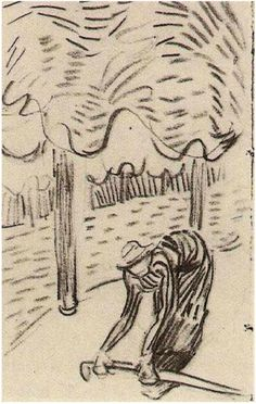 Woman Stooping in front of Trees by #vangogh http://www.vangoghgallery.com/catalog/Drawing/1758/Woman-Stooping-in-front-of-Trees.html