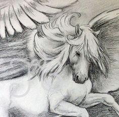 ORIGINAL Pegasus Horse Rearing Graphite Pencil by SparksaFlying, $45.00