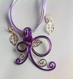 Pendentif et boucle d'oreilles violet et champagne : Collier par amybijoux