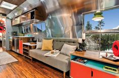 1 of only 10 Western Pacific Railroad Company commissioned 40′ Airstream trailers in 1962. Timeless Travel Trailers, based out of Denver, completed the gut renovation of this 40' Airstream in midcentury modern style. A beauty.