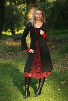 Lange Mäntel - Mantel Gehrock gewalkter Wolle anthrazit 36-42 - ein Designerstück von basia-kollek bei DaWanda