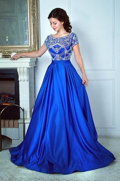 Luxurious Beaded Royal Blue Long Prom Dress with Cap Sleeves