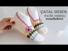 Çatal Desen Patik Modeli - YouTube Fingerless Gloves, Arm Warmers, Knit Crochet, Baby Shoes, Slippers, Socks, Knitting, Kids, Google