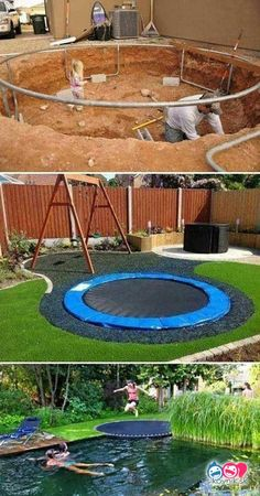 trampoline is safer for children and looks pretty cool too.Sunken trampoline is safer for children and looks pretty cool too. Sunken Trampoline, In Ground Trampoline, Backyard Trampoline, Backyard Playground, Backyard For Kids, Backyard Ideas, Pool Ideas, Patio Ideas, Fun Ideas