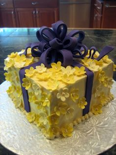 Soft yellow and purple cake.
