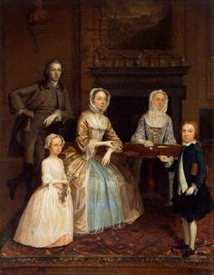 Mr Mrs Richard Bull, by Arthur Devis, Harris Museum and Art Gallery. blue quilted petticoat under yellow dress